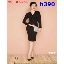 Đầm ôm dư tiệc cổ v màu đen dài tay đơn giản cá tính DOC756