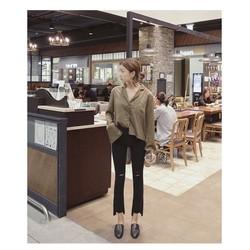 Quần kaki nữ ống loe rách gối Hàn Quốc