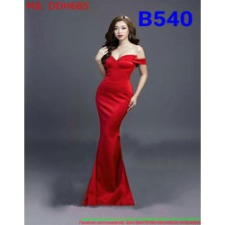 Đầm maxi dự tiệc cúp ngực rớt vai màu đỏ nổi bật và sang trọng DDH685