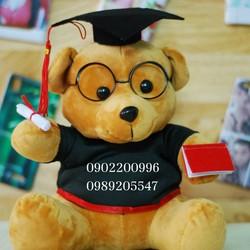 Gấu bông cử nhân in logo trường đại học Hutech
