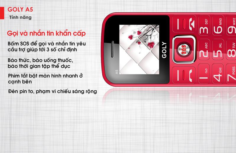 Điện thoại dành cho người già Goly A5 - Hãng phân phối chính thức 5