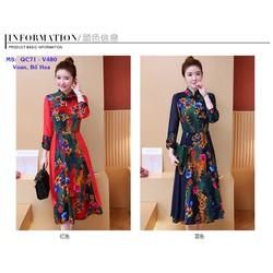 Đầm Trung Hoa In Họa Tiết Hàng Nhập