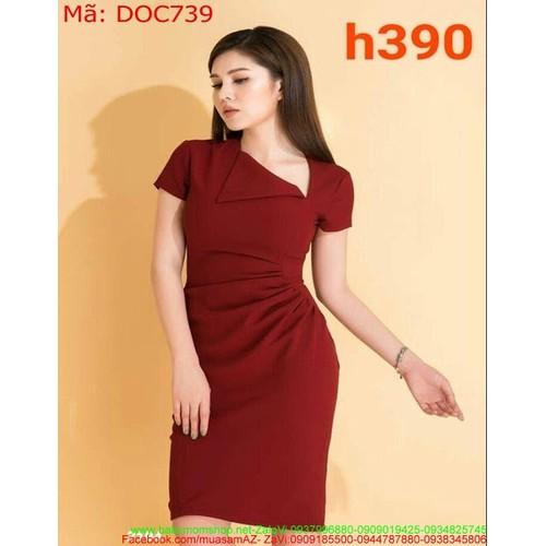 Đầm ôm dự tiệc bo eo màu đỏ sang trọng quý phái DOC739