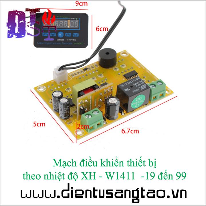 Mạch điều khiển thiết bị theo nhiệt độ XH - W1411  -19 đến 99 3