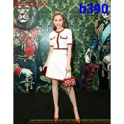 Đầm ôm body dự tiệc thiết kế giả túi sọc viền đỏ nổi bật DOC750