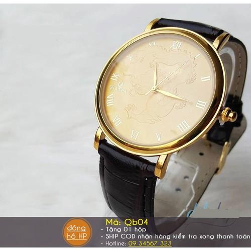 Đồng hồ nam rồng vàng dây da