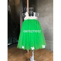 đầm tutu xanh lá hoa dải
