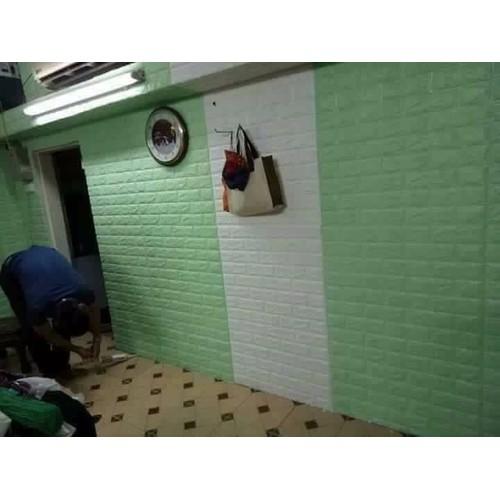 Xốp dán tường 3D màu xanh cốm KT 77x70 cm - 5125811 , 8296017 , 15_8296017 , 45000 , Xop-dan-tuong-3D-mau-xanh-com-KT-77x70-cm-15_8296017 , sendo.vn , Xốp dán tường 3D màu xanh cốm KT 77x70 cm