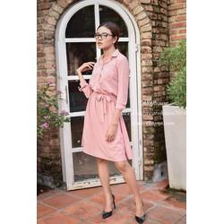 Đầm sơ mi hồng cột nơ eo