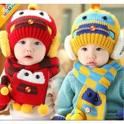 Mũ và khăn len ấm áp thời trang cho bé yêu hình Robot KOREA