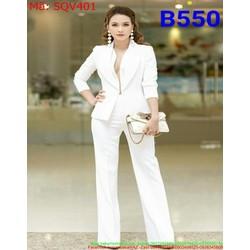 Sét bộ áo kiểu xẻ sâu và quần ống suông thanh lịch thời trang SQV401