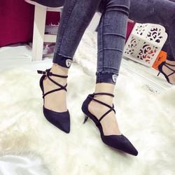 Giày cao gót bít mũi quai chéo