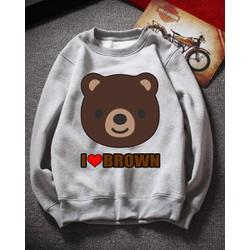 Áo Tay Dài Nữ Vây Cá I ♥ Gấu Brown Cao Cấp