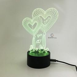 Đèn LED 3D dùng để trang trí và làm quà tặng hình trái tim