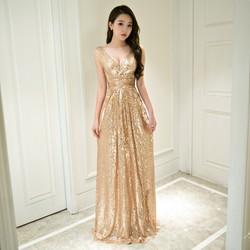 Chuyên sỉ - Đầm dạ hội vàng kim sa cao cấp quý phái sang trọng