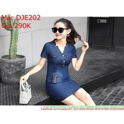 Đầm jean nữ công sở ngắn tay phối túi giả sành điệu DJE202