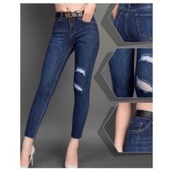 Quần jean tua lai rách nhẹ co dãn mạnh lưng cao