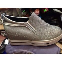 Giày độn đế 7cm phong cách Hàn Quốc màu bạc đính đá