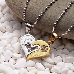Mặt dây chuyền cặp trái tim MDC16 Màu Bạc, Vàng bởi WinWinShop88