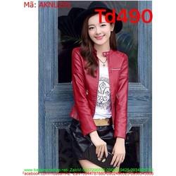 Áo khoác da nữ dài tay kiểu cổ trụ phối khóa kéo thời trang AKNU291