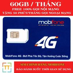 SIM 4G Mobifone 62Gb mỗi tháng + Miễn phí nghe gọi