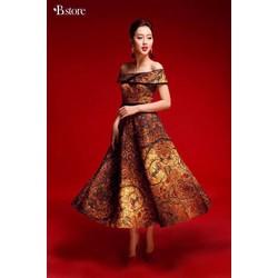 HÀNG MỚI-Đầm xoè trễ vai gấm in hoạ tiết 3D so hot