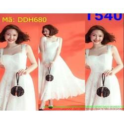 Đầm dự tiệc dài xòe 2 dây cúp ngực trắng xinh xắn DDH680