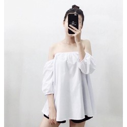 áo bẹt vai dây trắng