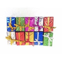 Bộ 10 hộp quà chữ nhật gắn cây thông Noel trang trí Giáng Sinh