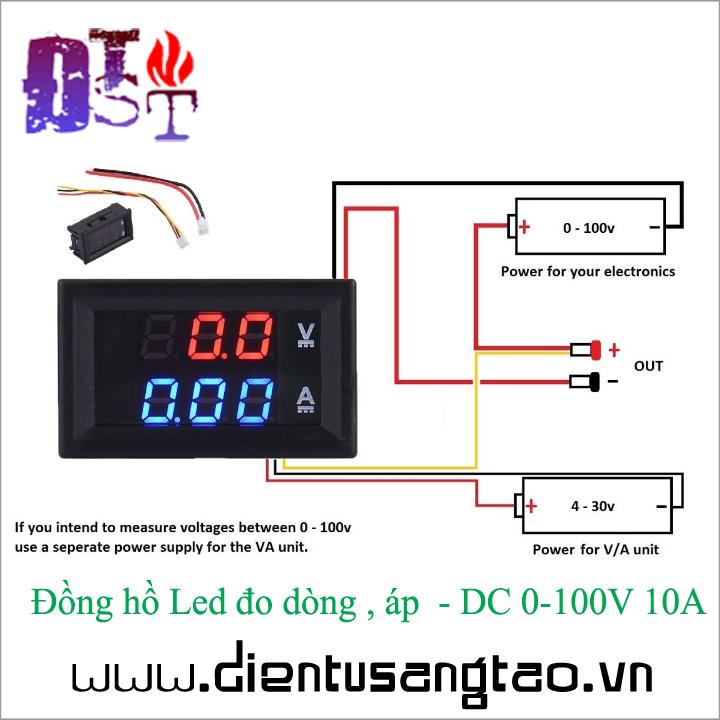 Đồng hồ Led đo dòng , áp  - DC 0-100V 10A 2