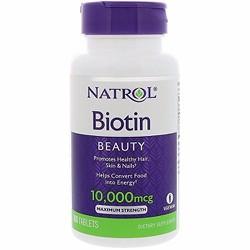 Viên uống hỗ trợ  mọc tóc, móng Natrol Biotin 10,000mcg - Xuất xứ Mỹ