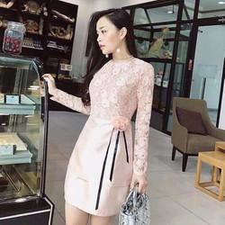 HÀNG MỚI-Đầm suông ren tay dài phối tùng trơn eo cài hoa