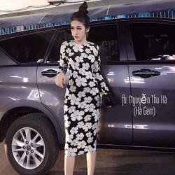 HÀNG MỚI-Đầm boddy tay dài in ho cúc 3D siêu hot