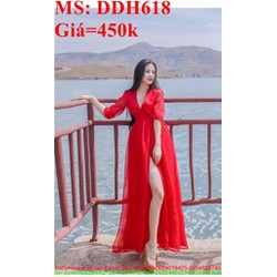 Đầm maxi đi biển màu đỏ sang trọng xẻ đùi quyến rũ DDH618