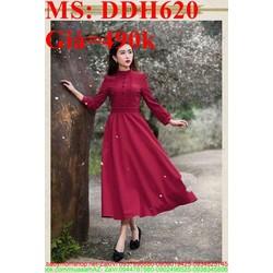 Đầm dự tiệc vintage màu đỏ sang trọng và quý phái DDH620