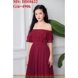 Đầm dự tiệc bẹt vai và lai bèo xinh đẹp màu đỏ sang trọng DDH622