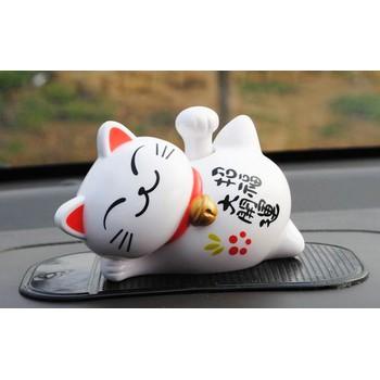 Tượng Mèo Nằm Vảy Tay May Mắn - LQ8902