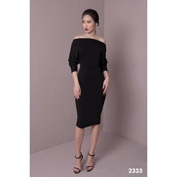 Đầm body đen trễ vai