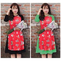 Set áo dài họa tiết hoa phối váy cao cấp