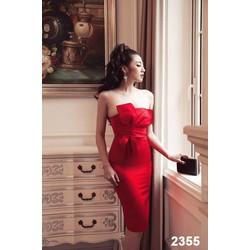 Đầm body đỏ cúp ngực nơ to