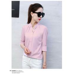 áo sơ mi công sở nữ vải voan cổ đứng mùa xuân hè City fashion 0436