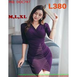 Đầm ôm công sở màu tím sành điệu thiết kế ôm dáng đẹp DOC747