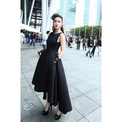 Chuyên sỉ - Đầm xòe đen dài cách điệu tinh tế dễ thương