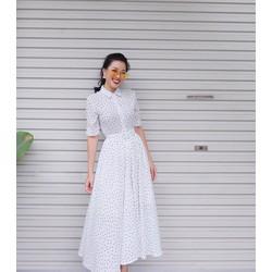 Đầm Xòe Chấm Bi Vintage Cổ Sơ Mi - Trắng