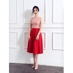 Đầm Xòe Hồng Phối Tùng Đỏ Có Túi - dxm1004