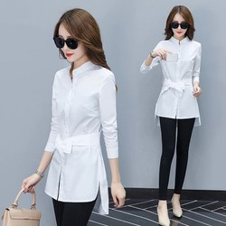 áo sơ mi trắng form dài cổ trụ thời trang