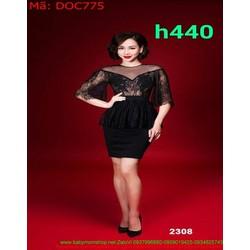 Đầm ôm body dự tiệc peplum chất liệu ren cao cấp DOC775