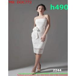 Đầm ôm body dự tiệc 2 dây ren trắng thắt nơ eo xinh xắn DOC772