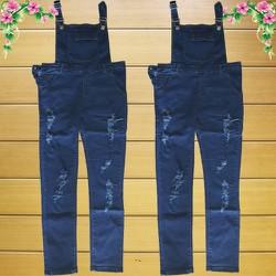 Quần Yếm Jeans Dài Rách Xanh Đậm