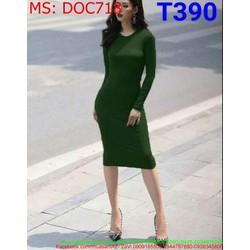 Đầm ôm body dự tiệc thiết kế dài tay đơn giản màu xanh DOC718
